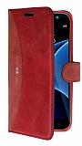 Eiroo Thunder Samsung Galaxy S7 Standlı Cüzdanlı Kırmızı Deri Kılıf