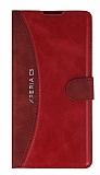 Eiroo Thunder Sony Xperia C3 Standlı Cüzdanlı Kırmızı Deri Kılıf
