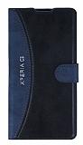 Eiroo Thunder Sony Xperia C3 Standlı Cüzdanlı Lacivert Deri Kılıf