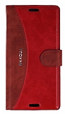 Eiroo Thunder Sony Xperia M4 Aqua Standlı Cüzdanlı Kırmızı Deri Kılıf