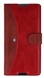 Eiroo Thunder Sony Xperia M5 Standlı Cüzdanlı Kırmızı Deri Kılıf