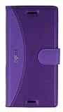 Eiroo Thunder Sony Xperia X Standlı Cüzdanlı Mor Deri Kılıf
