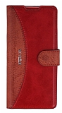 Eiroo Thunder Sony Xperia XA Standlı Cüzdanlı Kırmızı Deri Kılıf
