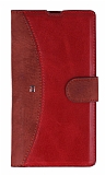 Eiroo Thunder Sony Xperia Z1 Standlı Cüzdanlı Kırmızı Deri Kılıf