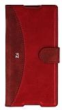 Eiroo Thunder Sony Xperia Z3 Plus Standlı Cüzdanlı Kırmızı Deri Kılıf
