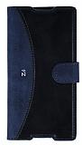 Eiroo Thunder Sony Xperia Z3 Plus Standlı Cüzdanlı Lacivert Deri Kılıf