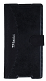 Eiroo Thunder Sony Xperia Z5 Premium Standlı Cüzdanlı Siyah Deri Kılıf