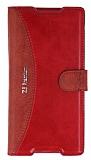 Eiroo Thunder Sony Xperia Z5 Premium Standlı Cüzdanlı Kırmızı Deri Kılıf