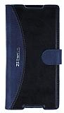 Eiroo Thunder Sony Xperia Z5 Premium Standlı Cüzdanlı Lacivert Deri Kılıf