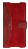 Eiroo Thunder Sony Xperia Z5 Standlı Cüzdanlı Kırmızı Deri Kılıf