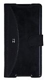 Eiroo Thunder Sony Xperia Z5 Standlı Cüzdanlı Siyah Deri Kılıf
