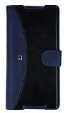 Eiroo Thunder Sony Xperia Z5 Standlı Cüzdanlı Lacivert Deri Kılıf