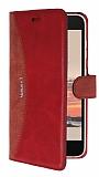 Eiroo Thunder Vestel Venus V3 5040 Standlı Cüzdanlı Kırmızı Deri Kılıf
