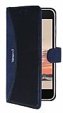 Eiroo Thunder Vestel Venus V3 5040 Standlı Cüzdanlı Lacivert Deri Kılıf