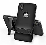 Eiroo Tiger Power iPhone 9 Standlı Ultra Koruma Siyah Silikon Kılıf