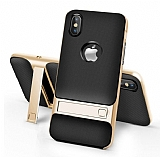 Eiroo Tiger Power iPhone 9 Standlı Ultra Koruma Gold Silikon Kılıf