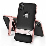 Eiroo Tiger Power iPhone 9 Standlı Ultra Koruma Rose Gold Silikon Kılıf