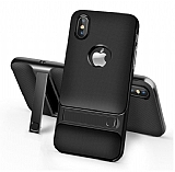 Eiroo Tiger Power iPhone Xs Max Standlı Ultra Koruma Siyah Silikon Kılıf