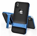 Eiroo Tiger Power iPhone X Standlı Ultra Koruma Mavi Silikon Kılıf