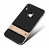 Eiroo Tiger Power iPhone XR Standlı Ultra Koruma Gold Kılıf