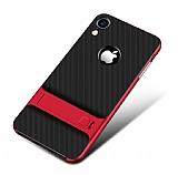 Eiroo Tiger Power iPhone XR Standlı Ultra Koruma Kırmızı Kılıf
