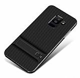 Eiroo Tiger Power Samsung Galaxy J8 Standlı Ultra Koruma Siyah Silikon Kılıf