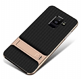 Eiroo Tiger Power Samsung Galaxy J8 Standlı Ultra Koruma Gold Silikon Kılıf