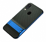 Eiroo Tiger Power Samsung Galaxy M20 Standlı Ultra Koruma Mavi Silikon Kılıf