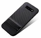 Eiroo Tiger Power Samsung Galaxy S10 Standlı Ultra Koruma Siyah Silikon Kılıf