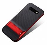 Eiroo Tiger Power Samsung Galaxy S10 Standlı Ultra Koruma Kırmızı Silikon Kılıf