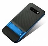 Eiroo Tiger Power Samsung Galaxy S10 Standlı Ultra Koruma Mavi Silikon Kılıf