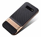 Eiroo Tiger Power Samsung Galaxy S10 Standlı Ultra Koruma Gold Silikon Kılıf