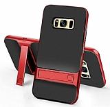 Eiroo Tiger Power Samsung Galaxy S8 Plus Standlı Ultra Koruma Kırmızı Kılıf