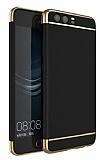Eiroo Trio Fit Huawei P10 Plus 3ü 1 Arada Gold Kenarlı Siyah Rubber Kılıf
