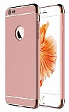 Eiroo Trio Fit iPhone 6 / 6S 3ü 1 Arada Gold Kenarlı Rose Gold Rubber Kılıf