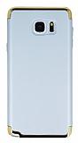 Eiroo Trio Fit Samsung Galaxy Note 5 3ü 1 Arada Silver Rubber Kılıf