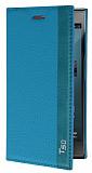 Turkcell T50 Gizli Mıknatıslı İnce Yan Kapaklı Mavi Deri Kılıf