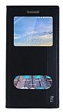 Turkcell T70 Gizli Mıknatıslı Çift Pencereli Siyah Deri Kılıf