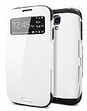 Eiroo View Armor Samsung i9500 Galaxy S4 Pencereli Beyaz K�l�f