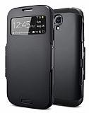 Eiroo View Armor Samsung i9500 Galaxy S4 Pencereli Siyah K�l�f