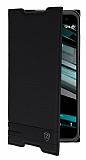 Eiroo Vodafone Smart 7 Pro Gizli M�knat�sl� Yan Kapakl� Siyah Deri K�l�f