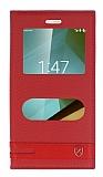 Eiroo Vodafone Smart 7 Style Gizli Mıknatıslı Çift Pencereli Kırmızı Deri Kılıf