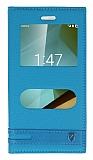 Eiroo Vodafone Smart 7 Style Gizli Mıknatıslı Çift Pencereli Mavi Deri Kılıf