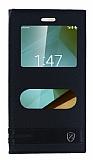 Eiroo Vodafone Smart 7 Style Gizli Mıknatıslı Çift Pencereli Siyah Deri Kılıf