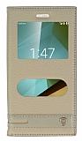 Eiroo Vodafone Smart 7 Style Gizli Mıknatıslı Çift Pencereli Gold Deri Kılıf