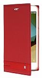 Vodafone Smart 7 Style Gizli Mıknatıslı Yan Kapaklı Kırmızı Deri Kılıf