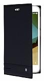 Vodafone Smart 7 Style Gizli Mıknatıslı Yan Kapaklı Siyah Deri Kılıf