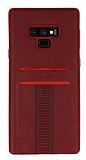Eiroo Wallet Samsung Galaxy Note 9 Deri Görünümlü Kırmızı Silikon Kılıf