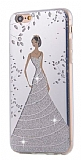 Eiroo Wedding iPhone 6 / 6S Silikon Kenarlı Silver Rubber Kılıf