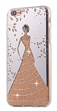 Eiroo Wedding iPhone 6 / 6S Silikon Kenarlı Gold Rubber Kılıf
